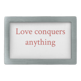 Love conquer all rectangular belt buckle