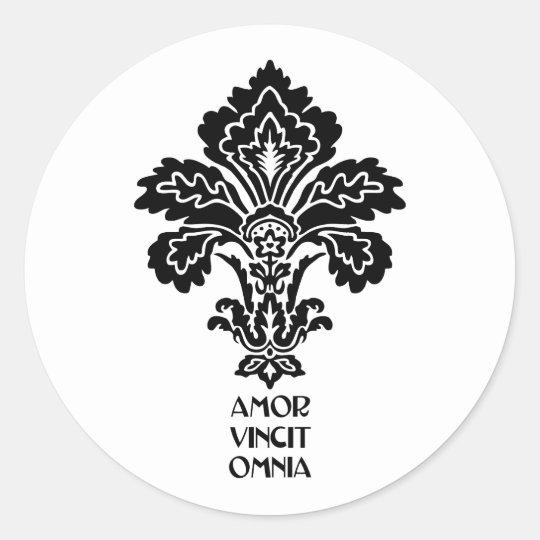 Love Conquers All (black-white) Classic Round Sticker