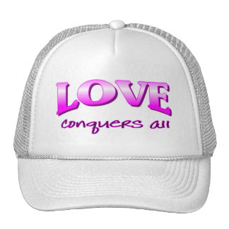Love conquers all Christian saying Trucker Hat