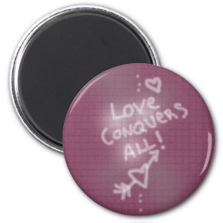 Love Conquers All Graffiti on Pink Brick Wall Magnets