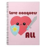 Love Conquers All Kawaii Heart notebook