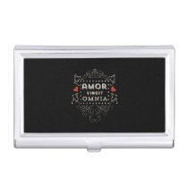 Love Conquers All - Latin Vintage Typography Business Card Case