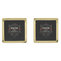 Love Conquers All - Latin Vintage Typography Gold Cufflinks