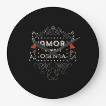 Love Conquers All - Latin Vintage Typography Large Clock