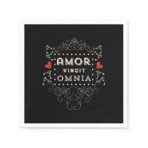 Love Conquers All - Latin Vintage Typography Paper Napkin