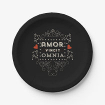 Love Conquers All - Latin Vintage Typography Paper Plate