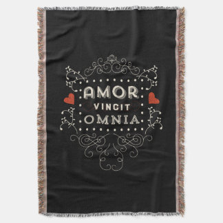 Love Conquers All - Latin Vintage Typography Throw