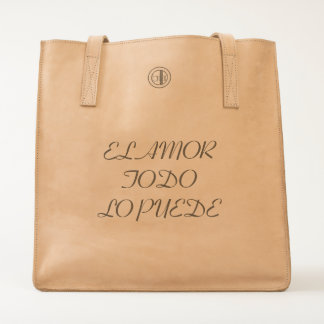 LOVE CONQUERS ALL LEATHER TOTE