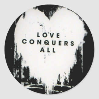 Love Conquers All Round Stickers
