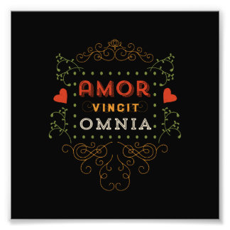 Love Conquers All - Vintage Latin Typography Photo Print