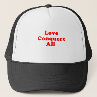 love conquers trucker hat