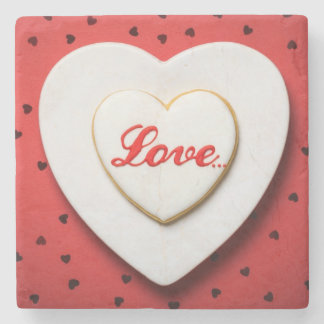 Love Cookie In Shape Of Heart On White Plate Stone Coaster