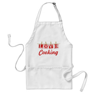 Love Cooking - Red and White Stitched Effect Adult Apron
