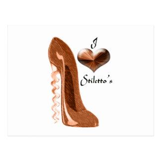 Love Copper Corkscrew Stiletto Shoe and 3D Heart Postcard