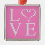 Love corazón abierto en gris sobre fondo rosa adornos de navidad