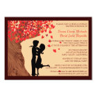 Love Couple Falling Hearts Oak Tree Couples Shower Card