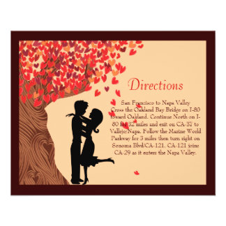 Love Couple Falling Hearts Oak Tree Direction Card