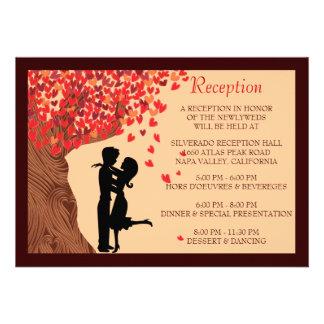 Love Couple Falling Hearts Oak Tree Reception Card Custom Invitations