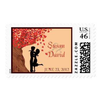 Love Couple Falling Hearts Oak Tree Stamp zazzle_stamp