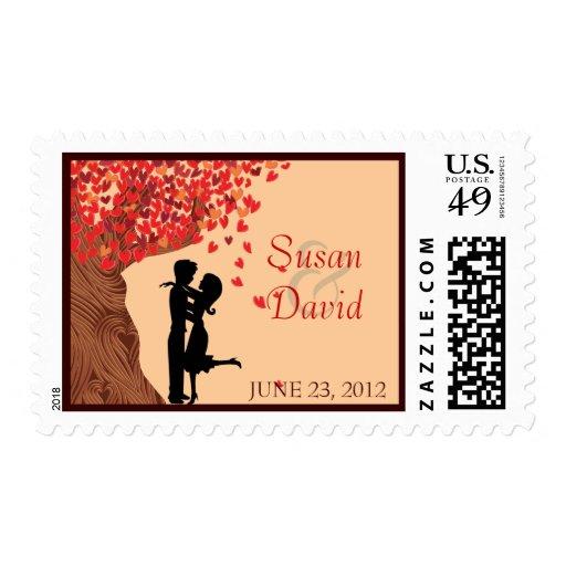 Love Couple Falling Hearts Oak Tree Stamp