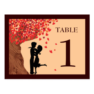 Love Couple Falling Hearts Oak Tree Table Number Postcard
