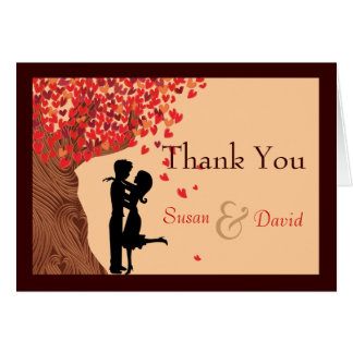 Love Couple Falling Hearts Oak Tree Thank You Note Greeting Cards