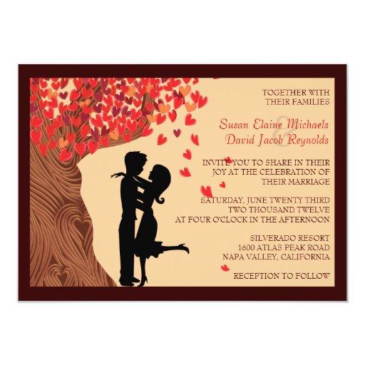 "Love Couple Falling Hearts Oak Tree Wedding Invite 4.5"" X 6.25"" Invitation Card"