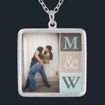 "Love Couple Photo &amp; Initials Monogram Necklace<br><div class=""desc"">Beautiful pendant customized with your photo and initials. Makes a beautiful gift for engagement,  wedding,  or anniversary.</div>"