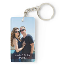 Love Couple Photo Names and Date Keychain