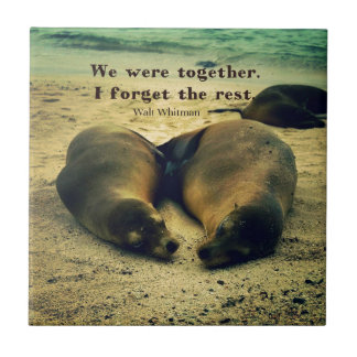 Love couple quote sea lions on the beach ceramic tile