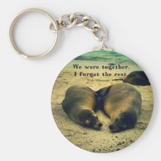 Love couple quote sea lions on the beach keychain