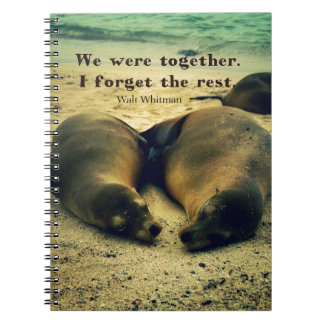 Love couple quote sea lions on the beach notebook