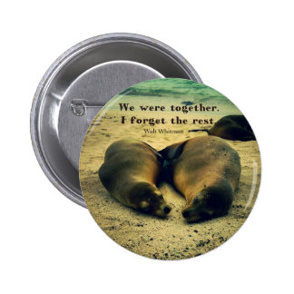 Love couple quote sea lions on the beach pinback button