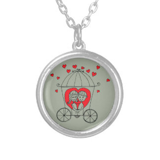 Love Couple Silver Plated Necklace