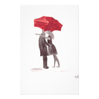 Love couple with red umbrella romantic couple kiss stationery
