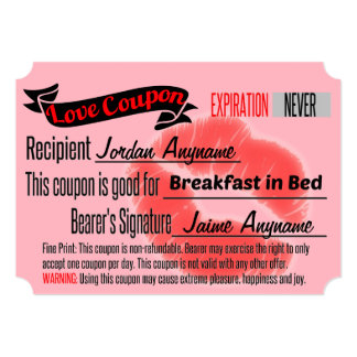 Love Coupon for Breakfast in Bed Card