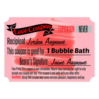 Love Coupon for Bubble Bath Card