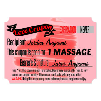 Love Coupon for MASSAGE Card