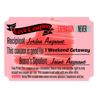 Love Coupon for Weekend Getaway Card