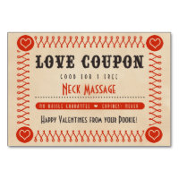 Love Coupons for Couples Valentines or Anniversary Table Number