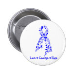 Love Courage Hope Butterfly -  Anal Cancer Pinback Buttons