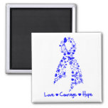 Love Courage Hope Butterfly -  Anal Cancer 2 Inch Square Magnet