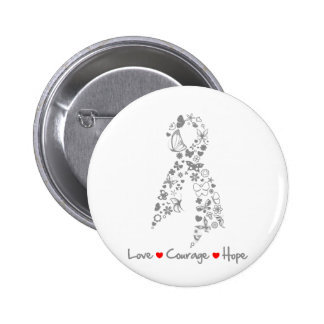 Love Courage Hope Butterfly - Brain Cancer 2 Inch Round Button