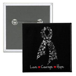 Love Courage Hope Butterfly - Brain Cancer 2 Inch Square Button
