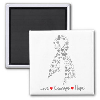 Love Courage Hope Butterfly - Brain Cancer 2 Inch Square Magnet