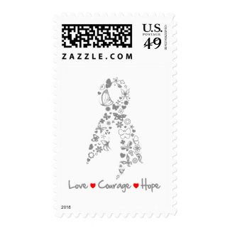 Love Courage Hope Butterfly - Brain Cancer Postage Stamp