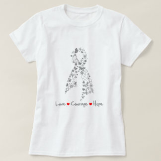 Love Courage Hope Butterfly - Brain Cancer Tee Shirt