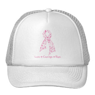 Love Courage Hope Butterfly - Breast Cancer 2 Mesh Hats