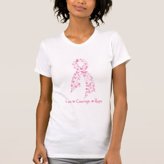 Love Courage Hope Butterfly - Breast Cancer 2 Tee Shirts