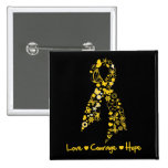 Love Courage Hope Butterfly -  Childhood Cancer Buttons